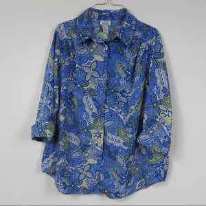 M5 Only Necessities Vintage Blue Floral Button Top